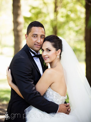 Wedding of Benji Marshall (Rugby League star) and Zoe Balbi (TV presenter) - ceremony conducted by Chiquita Mitchell