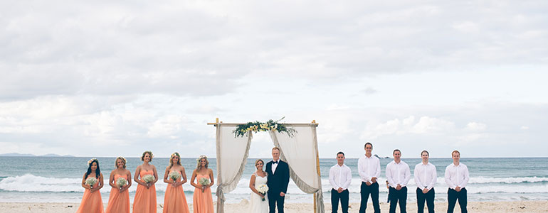 Wedding ceremony on Clarkes Beach in Byron Bay
